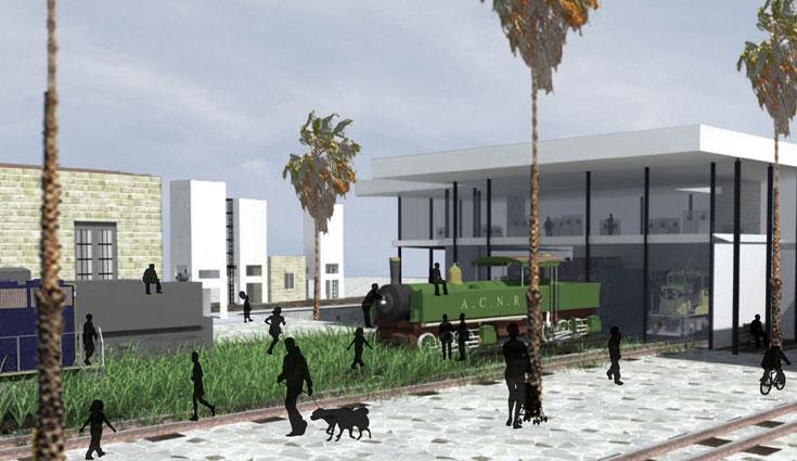 מתוך הצעתה של שירן חסין לשיקום ופיתוח תחנת הרכבת הישנה בחיפה, יחד עם תיעוד המבנה ההיסטורי (באדיבות שירן חסין, הפקולטה לארכיטקטורה ובינוי ערים בטכניון)