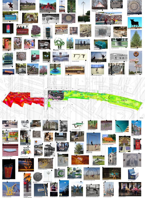 60 פריטים מ-60 מדינות. מכסה הביוב מרמת גן נמצא בשורה השנייה, 4 מימין (באדיבות BIG-Bjarke Ingels Group)