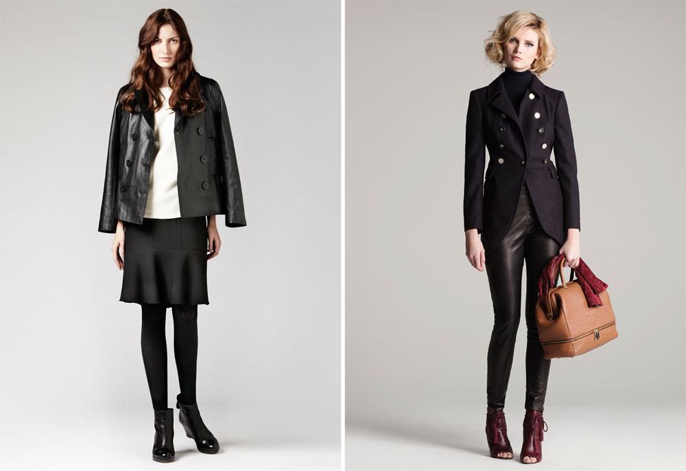 קולקציות סתיו-חורף 2012-13 של קרולינה הררה (מימין) וז'ראר דארל. לרשימת הקניות: ז'קט מחויט וז'קט עור