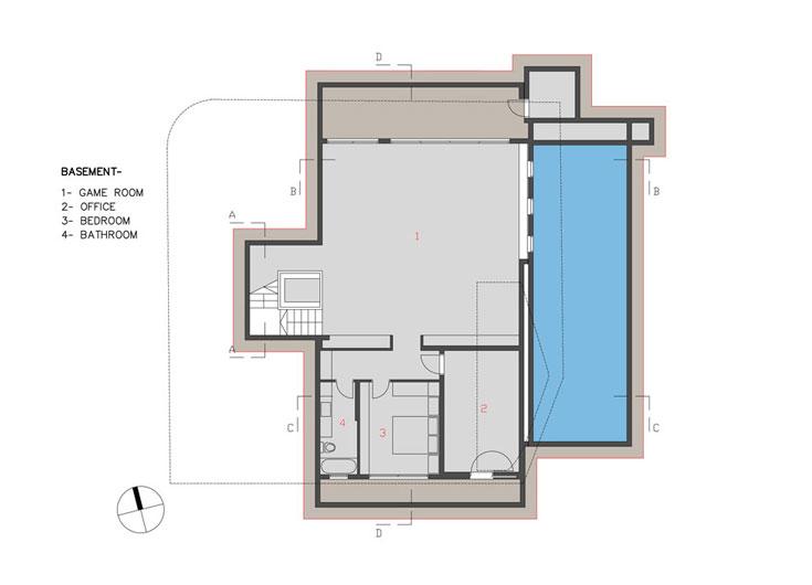 """תוכנית קומת המרתף: אולם משחקים, חדר עבודה, ממ""""ד וחדר רחצה (באדיבות אדר' אליהו זהבי, זהבי אדריכלים)"""