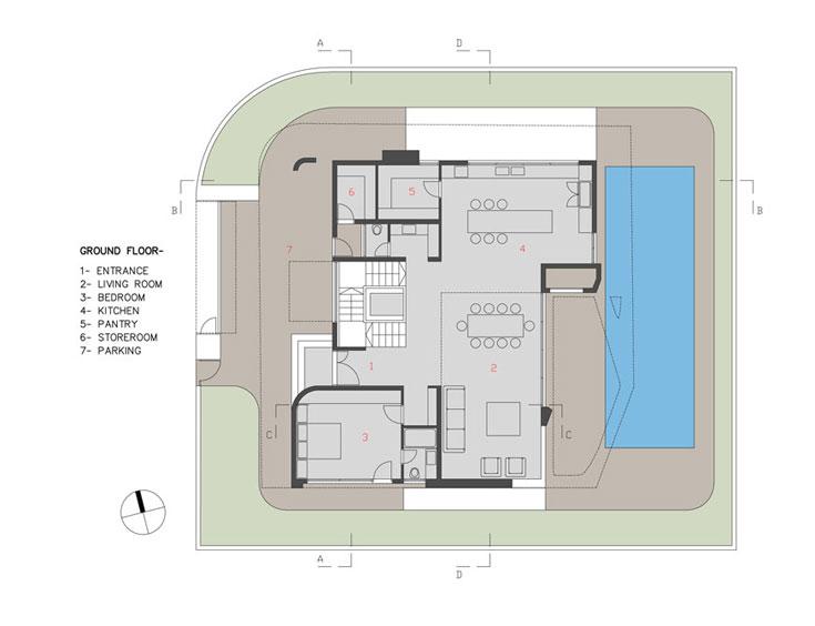 תוכנית קומת הכניסה: סלון, מטבח, פינת אוכל, חדר השינה של הבת הגדולה, שירותי אורחים ומחסן (באדיבות אדר' אליהו זהבי, זהבי אדריכלים)