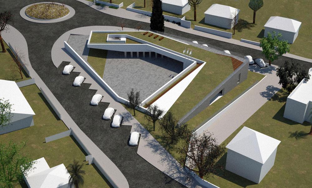 ההצעה שזכתה במקום השני: רן גולדמן (מנוף אדריכלות) ניסה לשזור את החולין והזיכרון זה בזה (הדמיה: רן גולדמן, מנוף אדריכלות)