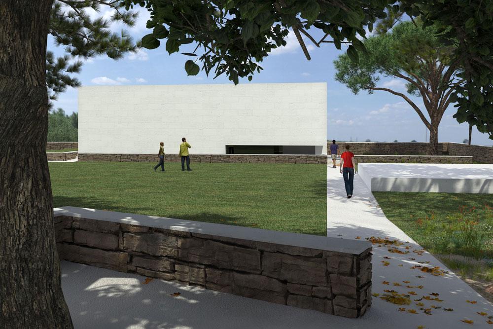שני מסלולים מקיפים את מבנה ההנצחה. הקצר מוביל לספרייה ולחדרי הכיתות, והארוך יותר מוביל לקיר הנופלים (ראו הדמיה קטנה בכתבה) (הדמיה: אור וצל הדמיות)