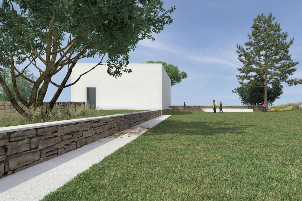 כך ייראה בית יד לבנים ברמת ישי: גדעון רוזן וגיל אהרנסון תיכננו מבנה צנוע מבלי לגעת ברוב השטח הפתוח מסביב (הדמיה: אור וצל הדמיות)