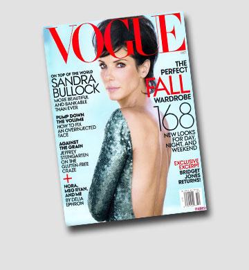 """סנדרה בולוק בתספורת מולט על שער הגיליון האחרון של מגזין """"ווג"""""""