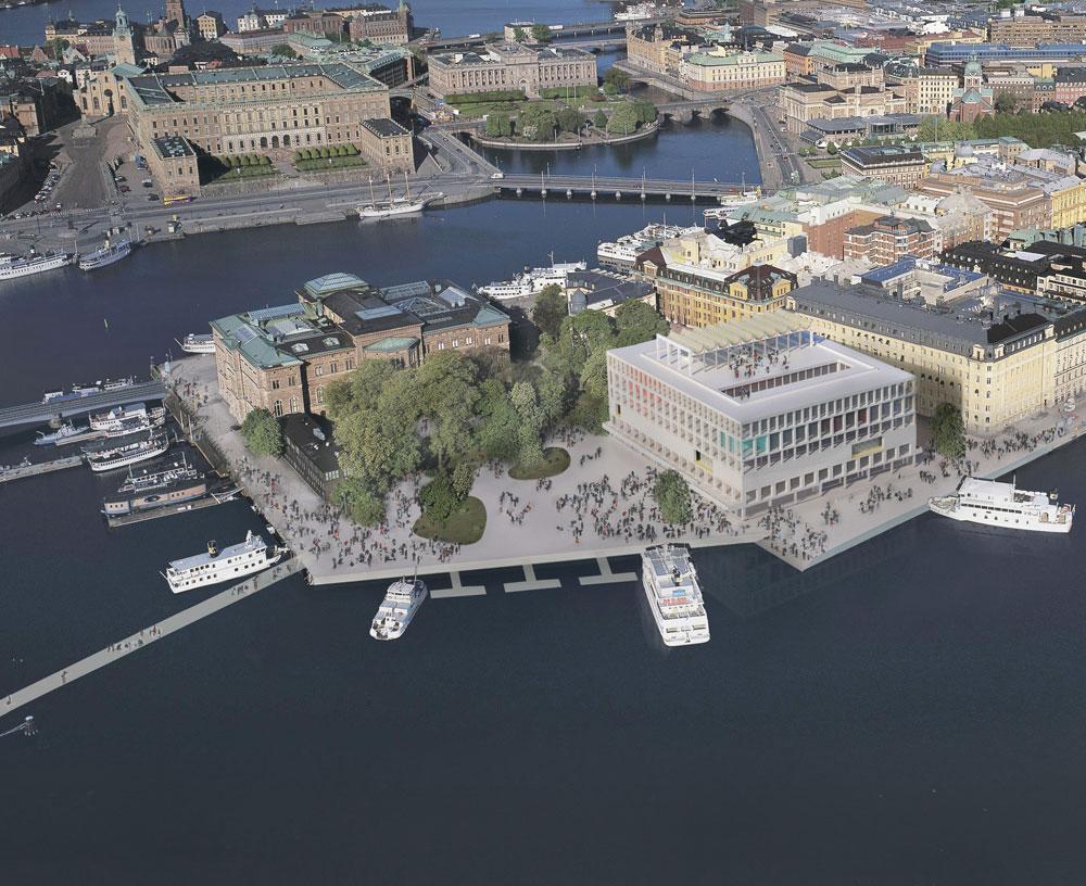 כאן יוקם מרכז פרס נובל, בחצי האי  Blasieholmen  בבירה השוודית. המבנה שמופיע בהדמיה על הצילום הוא ''חדר וחצי'' (פרטים בכתבה) (הדמיה:  Nobelhuset AB)