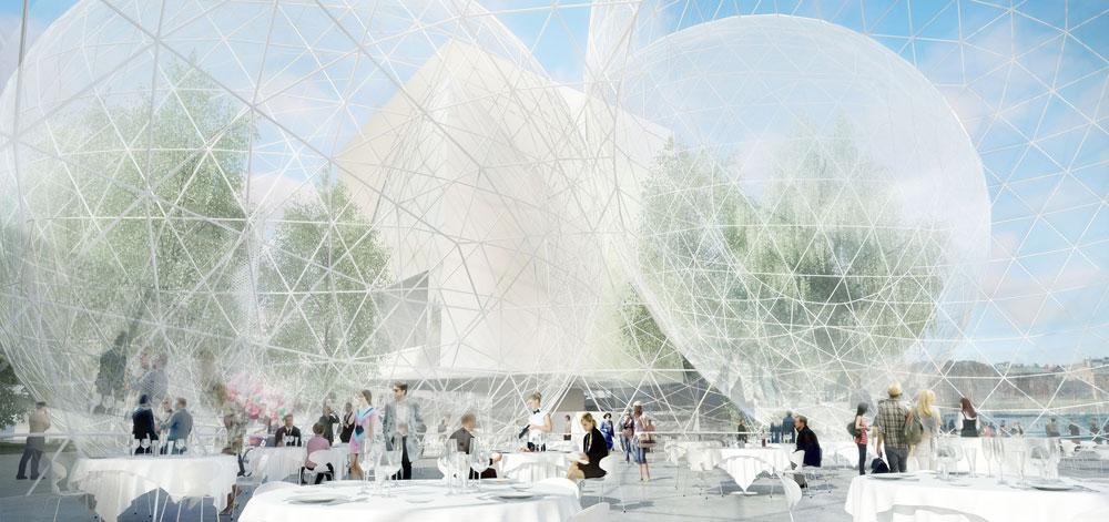 וזו ההצעה Nobel Sphere, ''בית הספרה''. מקבץ של 6 כדורים שקופים בגבהים שונים, שבמפגש ביניהם יהיו בתי קפה ואזורי מפגש (הדמיה:  Nobelhuset AB)