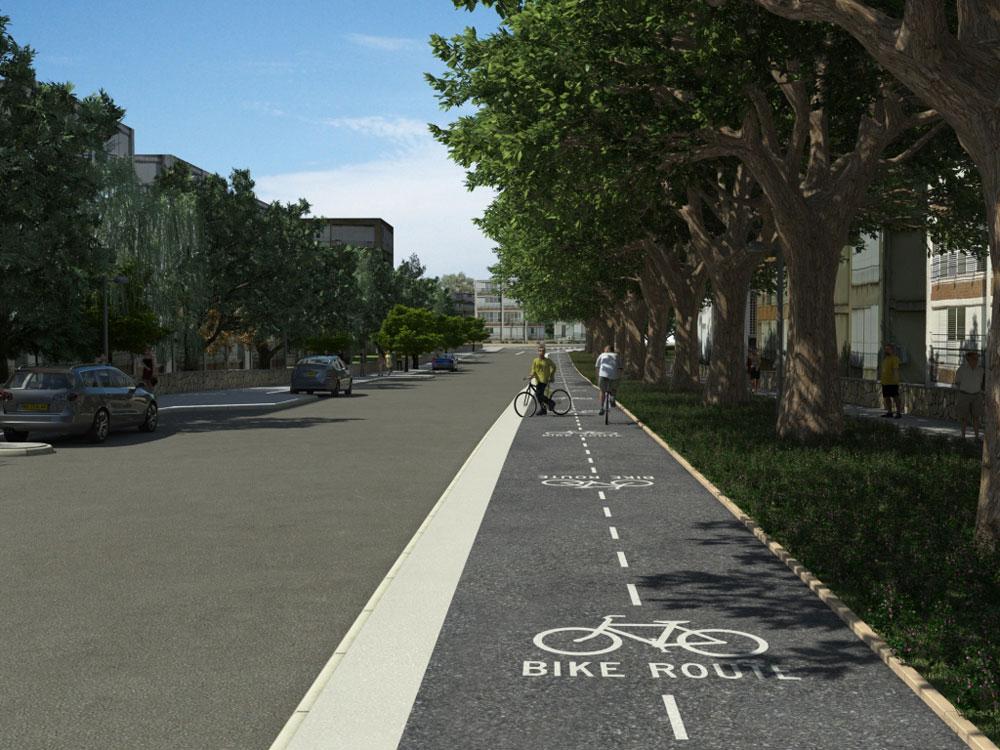 זו רק הדמיה: רשת הרחובות המצוינת של העיר היא בסיס טוב לשבילי אופניים כדי להחיות את העיר ולעודד את קהילת הרוכבים. בינתיים מדברים ולא עושים (הדמיה: באדיבות דוברות עיריית כפר סבא )