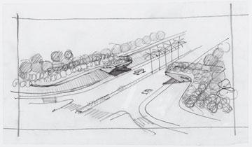 שרטוט היסטורי של הכניסה לעיר (תכנון:  ליפא יהלום ודן צור, אדריכלי נוף)