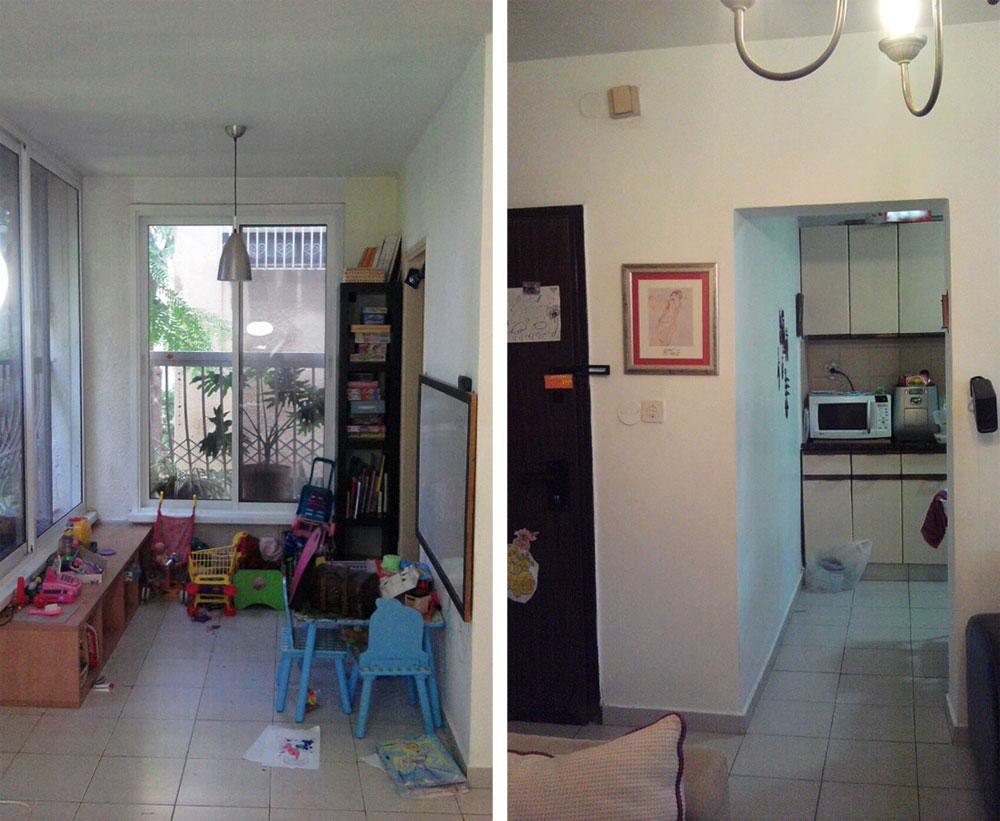 מימין: הכניסה למה שהיה המטבח הצר והסגור, והפך ליחידת ההורים. משמאל: המעבר לחדר ההורים הישן, דרך הסלון (צילום: BLV  עיצוב פנים)