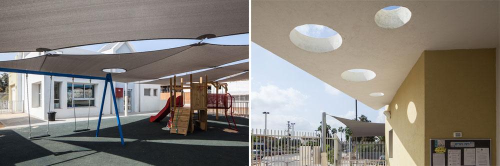 גן הילדים החדש בהרצליה, בתכנון אדריכלית מיכל שפר.  גם כאן יש תשומת לב לנושא הצל, כחלק בלתי נפרד מהתכנון, לטובת הילדים (צילום: טל ניסים)
