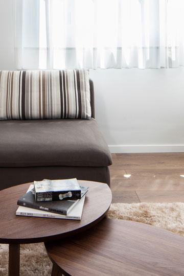 הספה רופדה מחדש ושולחנות קפה קטנים הוצבו על שטיח בגוון טבעי  (צילום: טל ניסים)