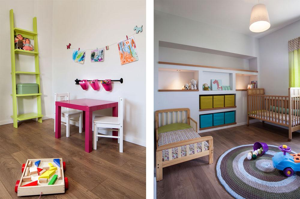 מימין: חדר השינה של הבנות, עם נישות ומיטות תואמות, ושטיח שהוזמן ונסרג במיוחד. משמאל: חדר המשחקים (צילום: טל ניסים)