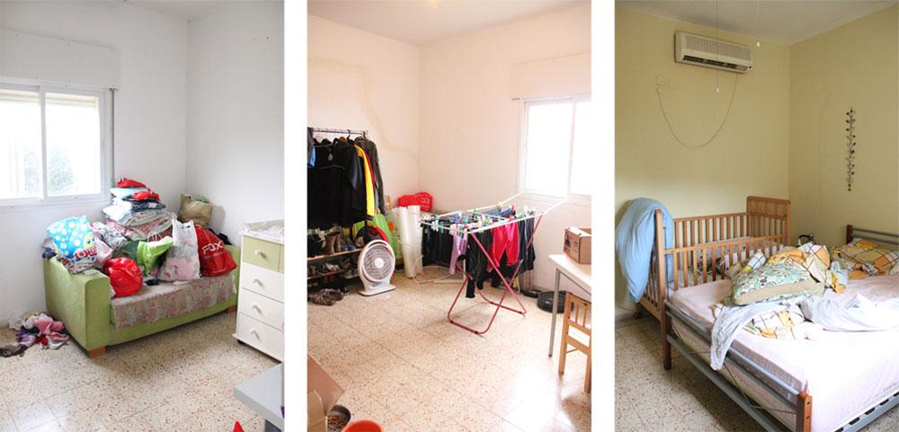 חדרי השינה, ''לפני''. מימין: חדר ההורים, שאליו הוכנסה מיטת הבת הבכורה. משמאל: שני חדרים ריקים, ששימשו בעיקר כמחסנים (צילום: סיון קונוולינה)