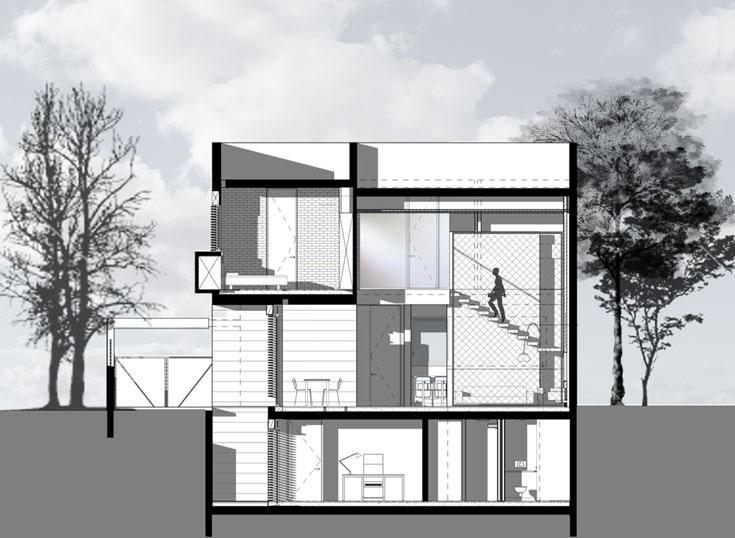 חתך הבית (תכנית: לילך גורפונג אדריכלים)