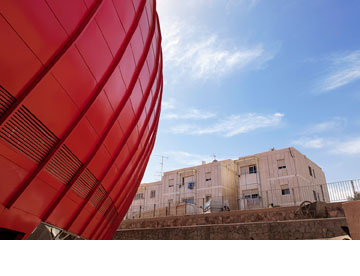 הבלון האדום על רקע השכונה (צילום: איל תגר)