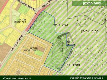 מיקומו של גן בעברית (באדיבות ברוידא - מעוז- אדריכלות נוף בע'''מ)