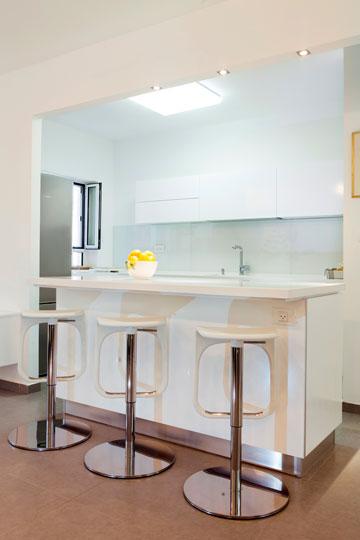 דלפק מפריד בין המטבח הלבן לחלל הסלון (צילום: איל תגר)