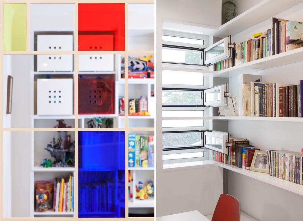מימין: המפגש בין המדפים לחלונות הסורג. משמאל: מבט משולחן האוכל דרך החלון המונדריאני, אל ספריית המשחקים (צילום: איל תגר)