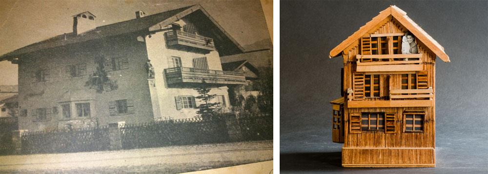 הדגם היחיד שויסמן בנה והוא לא בית כנסת הוא הבית שבו נולדה בתו היחידה, בגרמיש שבגרמניה (תמונה של הבית משמאל). כשהייתה בת שנה עלתה המשפחה לישראל (צילום: גדעון לוין ובאדיבות אירית שניר)