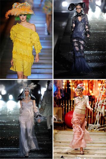 """עיצובי עבר של גליאנו. """"הוא מעצב אופנה ייחודי וקוטורייר יוצא דופן"""", מסר רנצו רוסו, בעל השליטה במייזון מרטין מרג'יאלה (צילום: gettyimages)"""