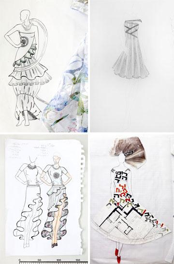 המשמעויות השונות של נושא החופש. סקיצות לעיצובים שיוצגו בתצוגת האופנה בנווה תרצה (צילום: ענבל מרמרי)