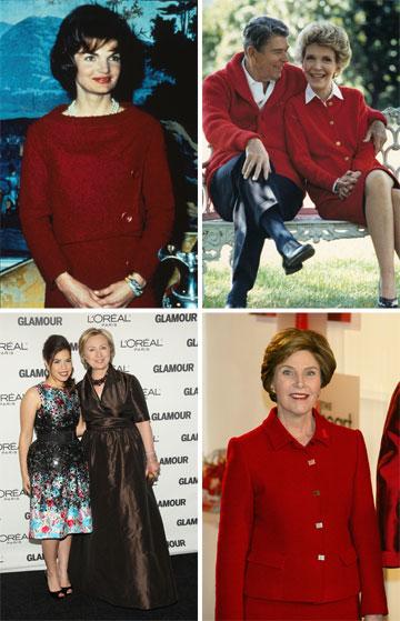 """""""אני רואה באפשרות להלביש נשים ראשונות פריבילגיה עצומה"""". ג'קי קנדי, ננסי רייגן, לורה בוש והילרי קלינטון (צילום: gettyimages)"""