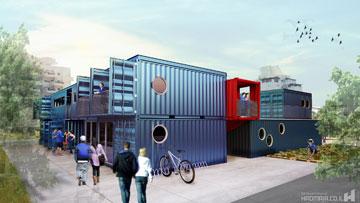 הקן של ''הנוער העובד והלומד'' שייבנה ממכולות בעיר רחובות. התנועה העדיפה חומר ממוחזר וחסכוני (הדמיה: hadmaia איתן אבל)