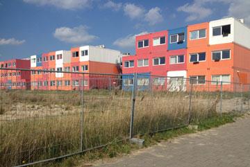 מתחם מכולות באמסטרדם. הסטודנטים משלמים כ-300 יורו בחודש (צילום: נעמה ריבה)