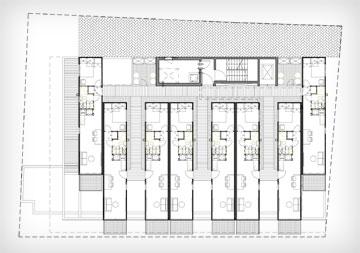 תוכנית קומה במעונות-המכולות בת''א. 4 קומות עם 8 דירות בכל אחת, מעל קומה מסחרית (צילום: תכנון: ארבל פידל אדריכלים)