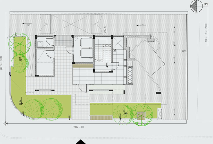 תוכנית הבניין ברחוב גרשון. תשע דירות קטנות יחסית בבניין בן 5 קומות על קומת קרקע, עם חדרים על הגג (תכנון: יפעת וינציגסטר ולילך גרוסברד)
