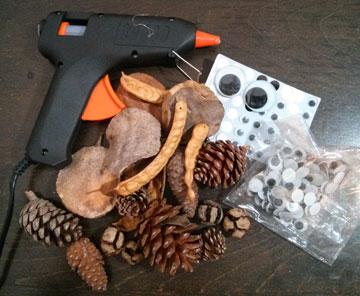 זמינים וזולים. החומרים ליצירות מהטבע (צילום: ענבל ישראל - כשיצירה פוגשת במדע)