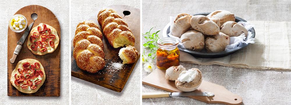 מימין לשמאל: לחמניות עם עגבניות ואגוזים, חלה קלה להכנה ופיצה ביתית משגעת (צילום: דני לרנר)
