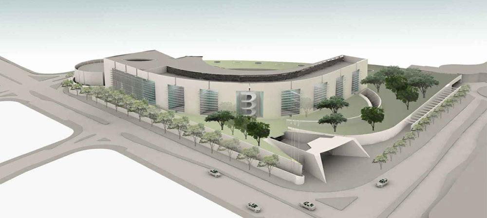 ועכשיו. המתחם יחולק לשני אגפים: משרד רה''מ והמעון הפרטי. מבנה המשרדים יתנשא לגובה 8 קומות, הבית הפרטי יתחפר באדמה ואפשר יהיה לעלות לגג הירוק בהליכה