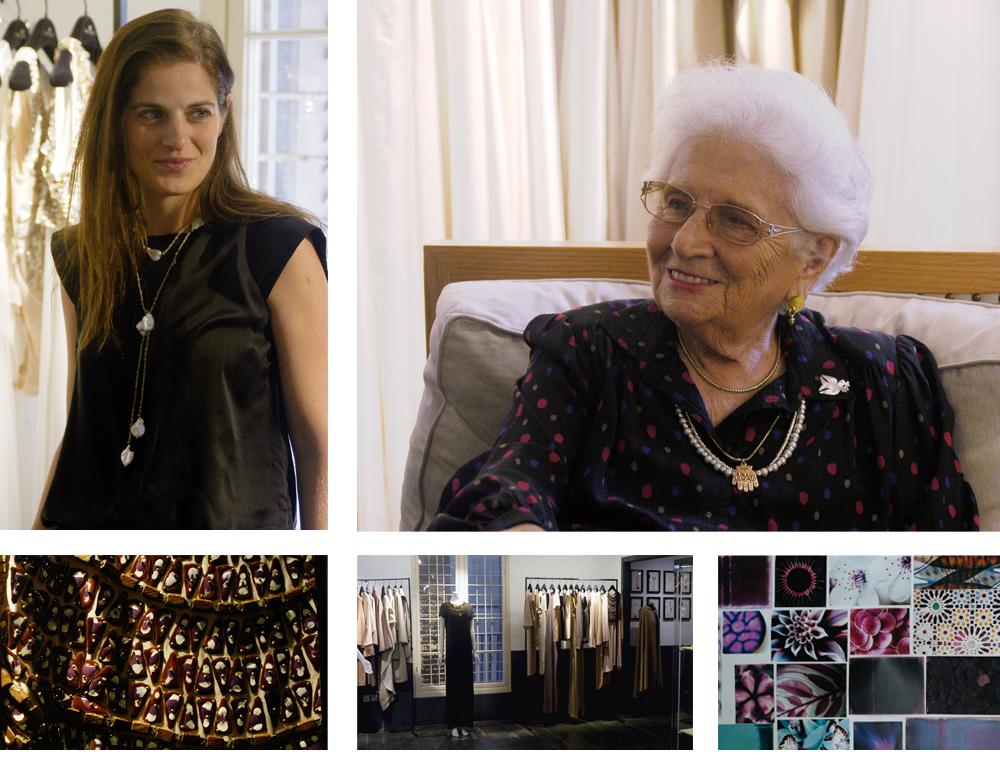 """רות דיין ושרון טל בסטודיו של משכית. """"היתה כאן תעשייה מאוד גדולה, ישראל היתה מעצמת טקסטיל ואופנה. היו מביאים קניינים, היו מפעלים, חברות מאוד גדולות, יצרנים. זה היה אירוע שהגיעו אליו מכל העולם"""""""
