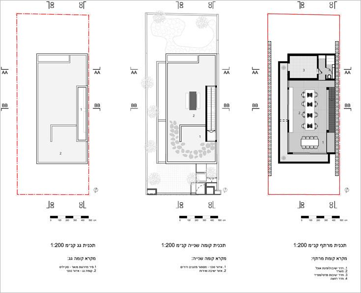 מימין: תוכנית המרתף, שבו חדר משחקים גדול, ממ''ד וחדר רחצה נוסף. במרכז: תוכנית קומת היציאה לגג (תכנית: דוד לבנטל אדריכלים )