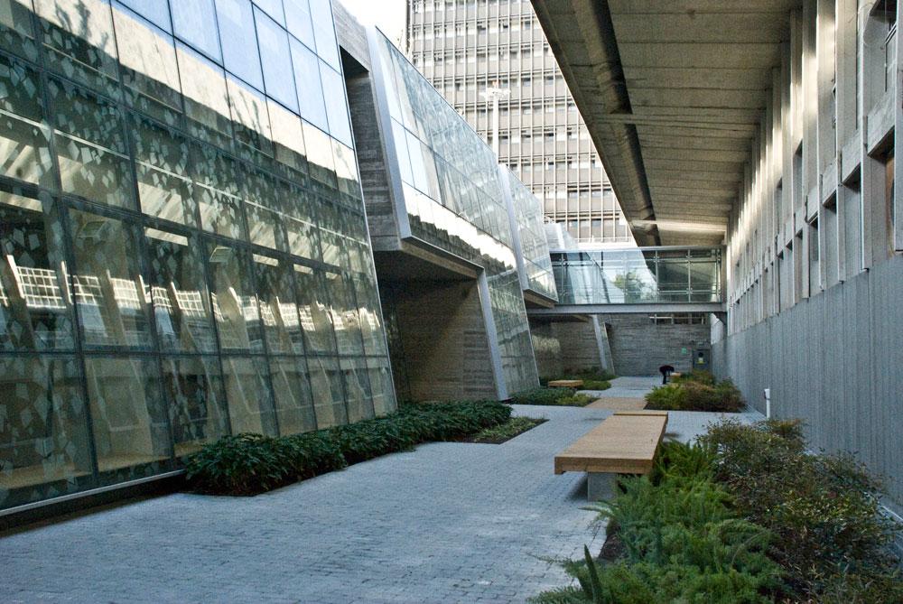 הספרייה באוניברסיטת חיפה. השימושים השונים של האוניברסיטה מפוזרים בין כעשרה בניינים (באדיבות דוברות אוניברסיטת חיפה)
