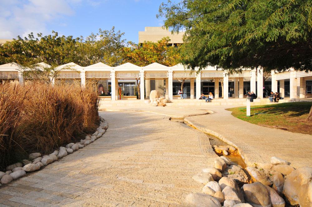כיכר קאמינגס בכניסה לאוניברסיטת בן גוריון. הנחל אכזב (צילום: דני מכליס, אוניברסיטת בן-גוריון בנגב)