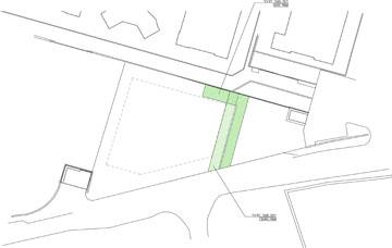 המעבר הפתוח לציבור מסומן בירוק. יאפשר הליכה מדרך חברון לרחוב אלבק. שאר הבניין מגודר לקרן בלבד (תכנון: פלסנר אדריכלים)