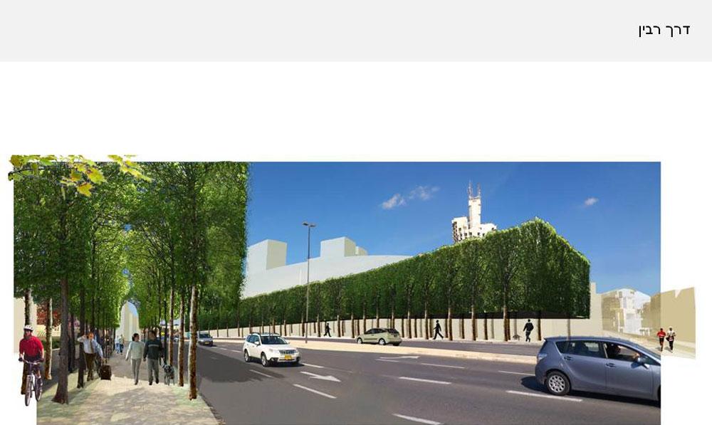 הבניין שמסתתר מאחורי שדרת העצים הגבוהה הוא מתחם ראש הממשלה, שנחשף ב-Xnet. הוא, אגב, אינו חלק מהתוכנית אלא מתוכנן בנפרד (הדמיה: קימל-אשכולות אדריכלים)