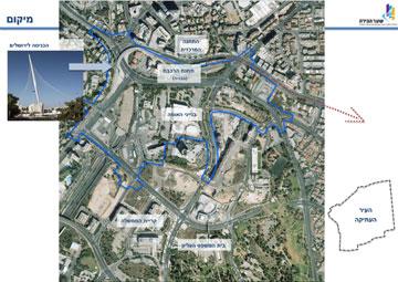 אזור הכניסה לירושלים לפי התוכנית. בינוי מאסיבי (פרחי-צפריר אדריכלים)