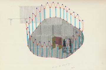 אחד הרישומים בתהליך העבודה על התערוכה (באדיבות מוזיאון תל אביב)