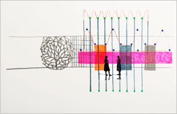 בורולק מעדיפים רישומי אקוורל על עבודה באמעות מחשב (באדיבות מוזיאון תל אביב)