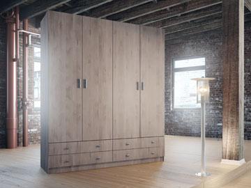 ארון בגדים 4 דלתות נפתחות . הפרטים בכתבה.