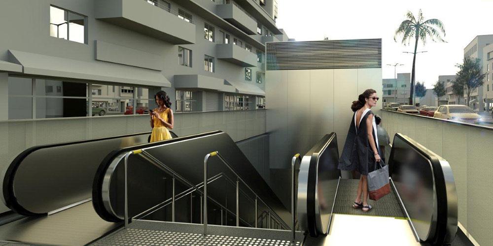הדמיה של אחת מתחנות הרכבת הקלה (בקטע התחתי שלה). הבניינים סביב מקומיים, אין ספק, אך השלט הוא בבחינת טאבולה ראסה. מה יהיה כאן? נחכה ונראה (הדמיה: באדיבות נת''ע)