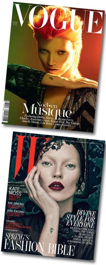 קייט מוס על שערי מגזין ווג (למעלה) ו-W