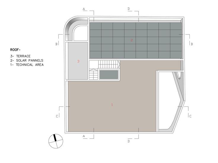 תוכנית הגג: מרפסת גדולה ופאנלים סולאריים להפקת חשמל (באדיבות אדר' אליהו זהבי, זהבי אדריכלים)