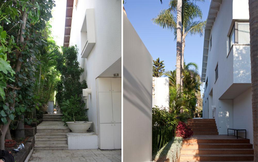 משמאל: שביל הכניסה לבית, ''לפני''. מימין: הכניסה שינתה את מקומה כדי ליצור מבואה, המדרגות הורחבו וחופו בדק (צילום: עמית גרון, לוי-חמיצר אדריכלים )