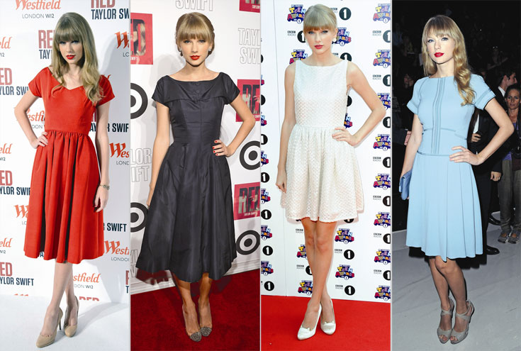 המדים: שמלות שמרניות בגזרות וינטג'יות. סוויפט (צילום: gettyimages)