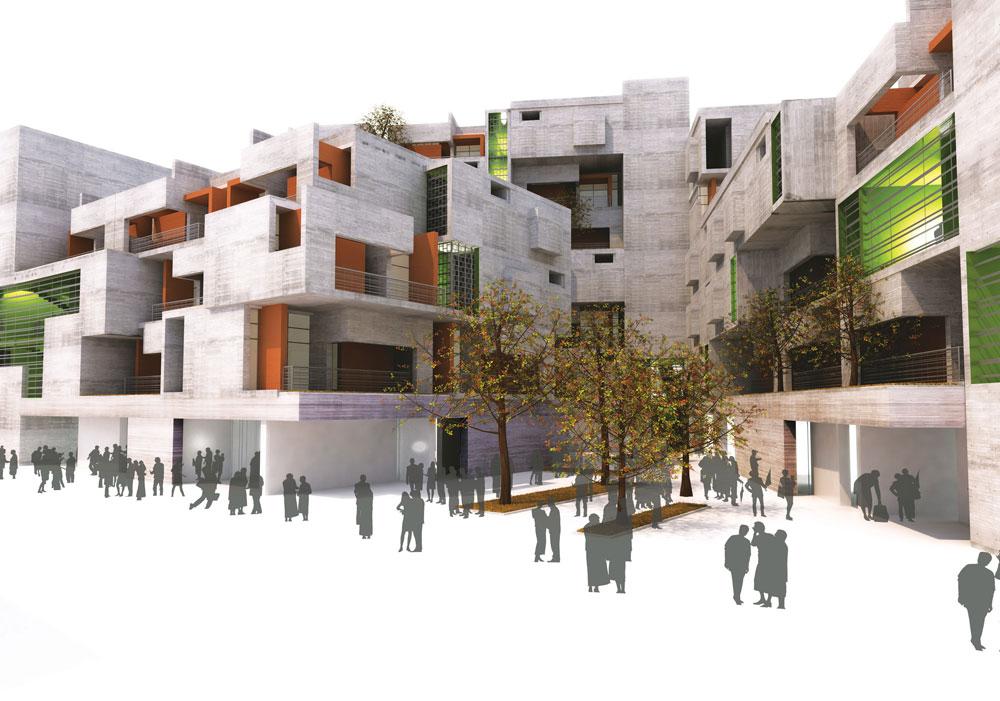 האם זהו העתיד? שכונת בטון ממוגנת, כפי שהציע האדריכל אלי גוטמן בעבודת הגמר בלימודיו. התקן הישראלי, אגב, לא היה מאשר זאת (באדיבות אדר' אלי גוטמן)